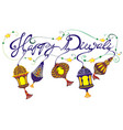diwali withs lamps vector image vector image