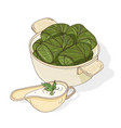 drawing of dolma in bowl and sauce in gravy boat vector image
