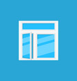 flat open window icon on blue background vector image vector image
