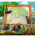 Frame design with gibbons at the cave vector image vector image