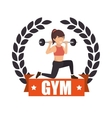 gym sport fitness girl weight label vector image