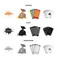 jack sweat a bag with money won cards for vector image vector image