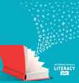 literacy day card concept open book and alphabet vector image