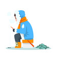 man fishing in a frozen river in winter clothing vector image vector image