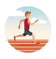 man running on track round icon vector image vector image
