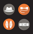 mens accessories flat design long shadow icons set vector image