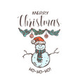 merry chridtmas linear emblem with typograp vector image vector image