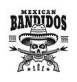 mexican bandit skull in sombrero emblem vector image