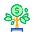 money tree pot icon outline vector image vector image