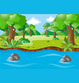 nature scene with river and field vector image vector image
