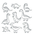 outline dinosaurs cute baby dino funny monsters vector image vector image