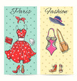 paris fashion clothes cards vector image vector image