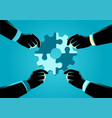 people assembling jigsaw puzzle forming a gear vector image