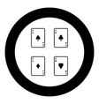 playing cards icon black color in circle vector image vector image