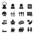 restaurant coffee shop icon set vector image