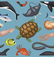 sea animals tropical character vector image vector image