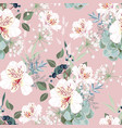 seamless pattern with white alstroemeria flowers vector image vector image