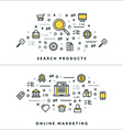 Search Products and Online Marketing Flat Thin vector image