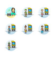 set of multicolor video games icons vector image