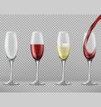 set of wine glasses with alcoholic drinks vector image