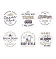 set vintage surfing graphics and emblems vector image