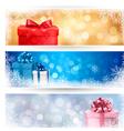 set winter christmas banners vector image
