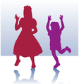 Silhouette of little boy and girl vector image vector image