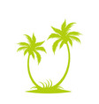 silhouette of palm trees on the island vector image vector image