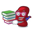 student with book spleen mascot cartoon style vector image vector image