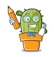 student with pencil cute cactus character cartoon vector image