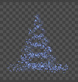 stylized blue christmas tree 3d as symbol of happy vector image
