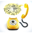 Telephone old doodle vector image vector image
