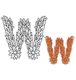 Uppercase letter W in a foliate font vector image vector image