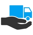 Van Delivery Service Hand Flat Icon vector image vector image