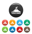 volcano mountain icons set color vector image