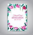 watercolor floral vintage invitation card vector image