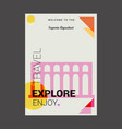 welcome to the segovia aqueduct spain explore vector image vector image