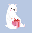 white polar bear animal and gift box cute vector image