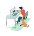 young man works at home seating at his desk vector image vector image