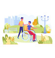young person sitting on wheelchair outdoor in park vector image vector image