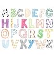 Children kids letter hand drawn cartoon alphabet vector image