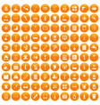 100 disabled healthcare icons set orange vector image vector image