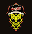 alien head in baseball cap character colorful vector image vector image