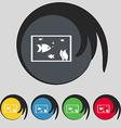 Aquarium Fish in water icon sign Symbol on five
