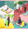 arabic family 2x2 isometric concept vector image vector image