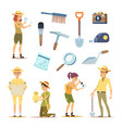 archaeologists characters and various historical vector image vector image