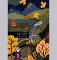 autumn landscape in halloween cartoon flat vector image