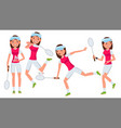 badminton female player in action vector image