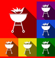 barbecue with fire sign set of icons with vector image vector image