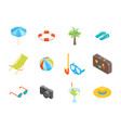 beach summer rest icon set isometric view vector image
